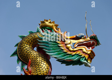 Chinese dragon in buddhist temple Wat Chana Songkhram Banglamphu district in central Bangkok Thailand - Stock Photo