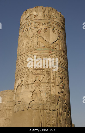 A Column at Kom Ombo Temple on the River Nile in Egypt - Stock Photo