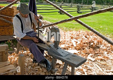 Woodsmith  Historical Acadian village New Brunswick - Stock Photo