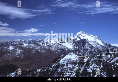 Mt Huayna Potosi and northern part of Cordillera Real, seen from Mt Chacaltaya, Bolivia - Stock Photo