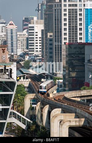 BTS SkyTrain elevated privately run Bangkok Transit System Pathumwan district in central Bangkok Thailand - Stock Photo