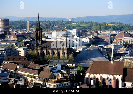 Aerial shot of St Elisabeth church and Historical museum Basel Canton Basel Stadt Switzerland - Stock Photo
