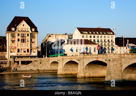 Mittlere Rheinbrücke middle Rhine bridge Little Basel Basel Canton Basel Stadt Switzerland - Stock Photo