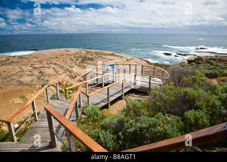 Viewing platform at Cape Leeuwin Lighthouse Augusta Western Australia wa - Stock Photo