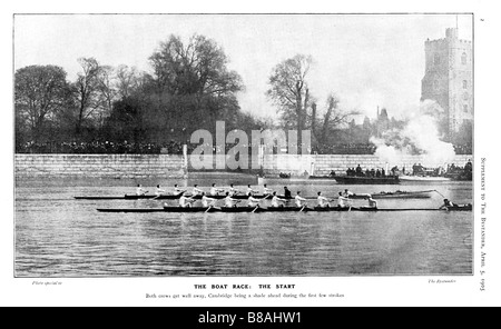 Boat Race Start 1905 photo of the University boats off at Putney Cambridge just ahead of Oxford - Stock Photo
