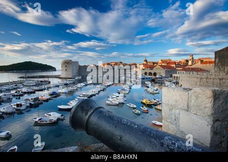 old town harbour Dubrovnik Dalmatia Croatia - Stock Photo