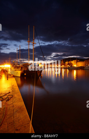 seafront Trogir night, Dalmatia, Croatia - Stock Photo