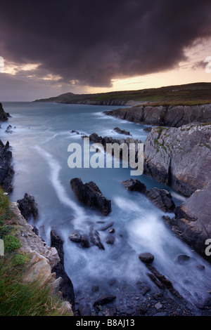 dusk at Dooneen Head with Sheeps Head beyond, Bantry Bay, County Cork, Ireland - Stock Photo