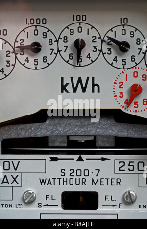 Domestic electricity meter, Bawdsey, Suffolk, UK. - Stock Photo