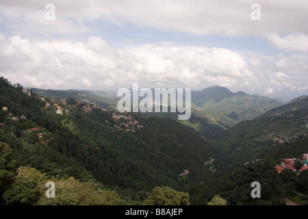 A view into the valley below from the north Indian town of Shimla. - Stock Photo