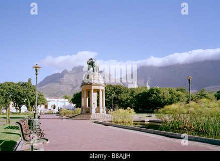 Company's Gardens and Table Mountain in Cape Town in South Africa in Sub Saharan Africa. Apartheid African Panoramic - Stock Photo