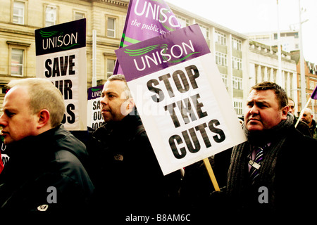JOINT TRADE UNION LOBBY 1 00 2 00 pm Tuesday 3 February 2009 Outside the Council House Old Market Square Nottingham - Stock Photo