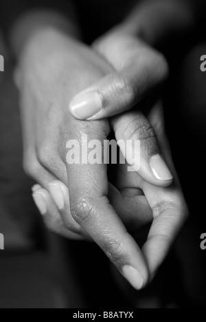 African American Hands vertical - Stock Photo
