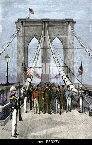President Chester A Arthur presiding over the opening of the Brooklyn Bridge 1883. Hand-colored woodcut - Stock Photo