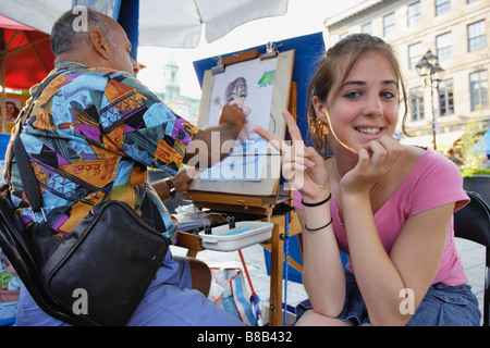 Girl Posing  an Artist, Place Jacques-Cartier, Old Montreal, Quebec - Stock Photo