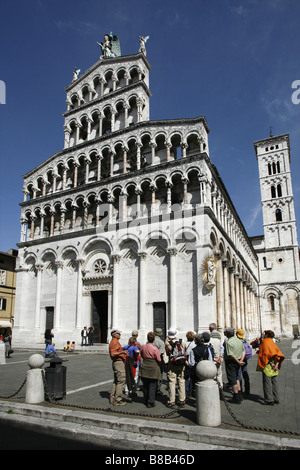 San Michele in Foro, Lucca, Tuscany, Italy - Stock Photo