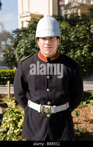 Malteese volunteer dressed in British colonial uniform to promote the Saluting Battery. Upper Barrakka Gardens, - Stock Photo