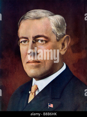 Woodrow Wilson President of the United States. Halftone of a hand-tinted photograph - Stock Photo