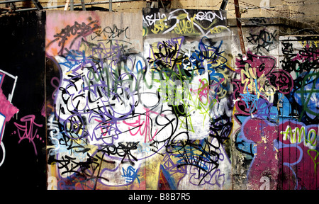 Color landscape Image of Graffiti on the Berlin Wall in Germany. - Stock Photo