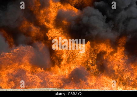 Jet fuel fire at an airport firefigher training facility in Boise Idaho USA - Stock Photo
