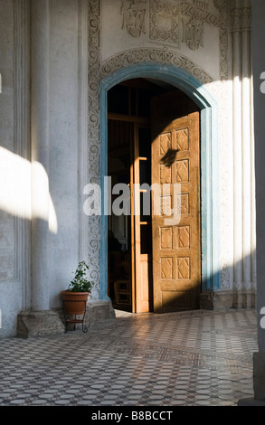 Main entrance of wooden door Panagia Eleousa  (Blessed Virgin Mary the Merciful) church in Upper Lefkara, South - Stock Photo