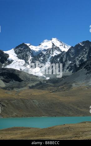 Mt Huayna Potosi and Lake Jankho Kota, Cordillera Real, Bolivia - Stock Photo