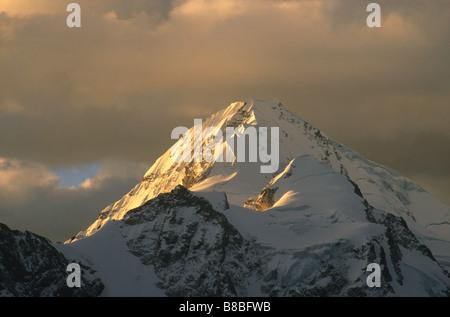 Mt Huayna Potosi at sunset, Cordillera Real, Bolivia - Stock Photo