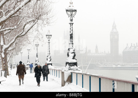 Snow covered Thames riverside in London England UK - Stock Photo