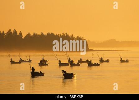 Oyster fishers  sunrise, West River, Prince Edward Island - Stock Photo