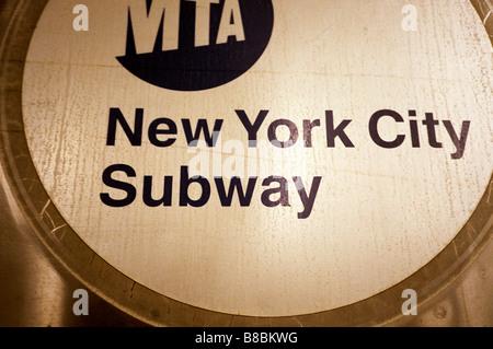 New York City Subway Sign - Stock Photo