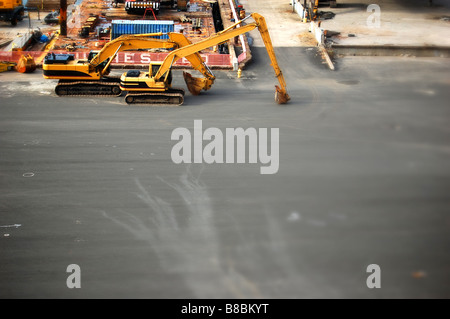 Empty Construction Site with Construction Excavators, Viewed from Above - Stock Photo