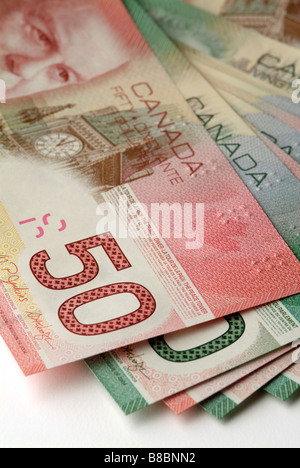 Canadian Twenty  Fifty Dollar Bills Fanned out - Stock Photo
