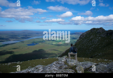 A HILL WALKER NEAR THE SUMMIT OF THE CORBETT BEN LOYAL KYLE OF TONGUE SUTHERLAND - Stock Photo
