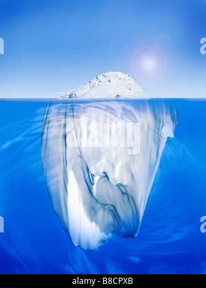 FL6479, Jim Tinios/Ted Sheppard; Ice Berg, Split Above  Below  Water - Stock Photo