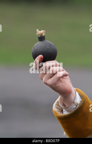 Close-up of a grenade held by a Grenadier at the 2008 re-enactment of the Battle of Prestonpans - Stock Photo