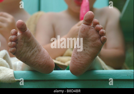 Little Boys Sandy Bare Feet - Stock Photo
