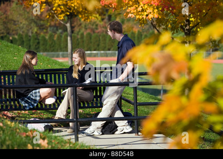 Two teenage girls and a boy chat on the campus of a private school. - Stock Photo