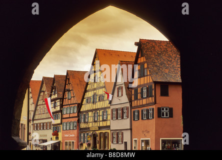 Gabled half timbered houses on Martin Luther Str seen from Rothenburger Gate in Dinkelsbühl on The Romantic Road - Stock Photo