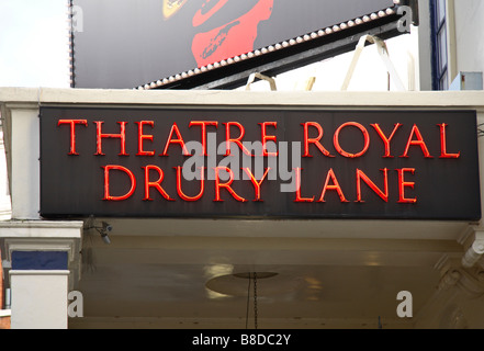 Name sign for the Theatre Royal, Drury Lane, London.  Oliver is currently showing at the Theatre. Jan 2009 - Stock Photo
