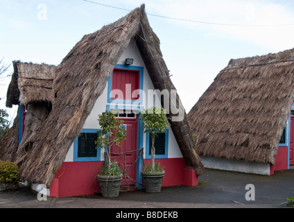 Palheiros, or Haylofts, traditional houses at Sao Jorge, Madeira, Portugal - Stock Photo
