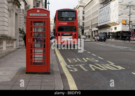 Red Telephone Box in London - Stock Photo