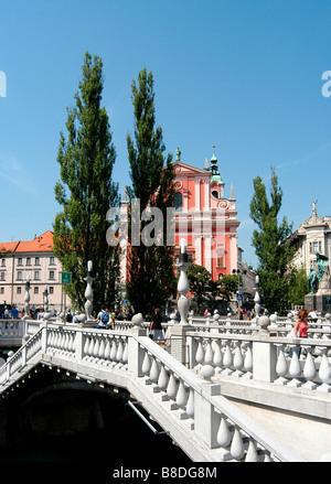 Triple bridge on Ljubljanica river, Ljubljana, Slovenia - Stock Photo