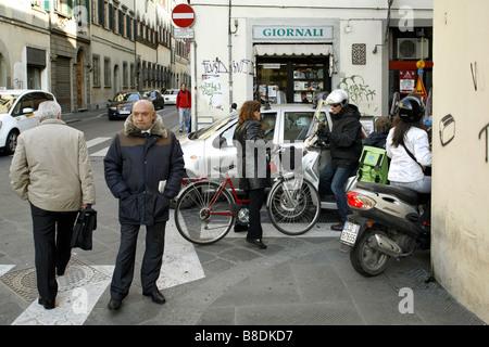Traffic jam, Florence, Tuscany, Italy - Stock Photo