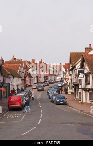 A view up the high street in Lavenham,Suffolk,Uk - Stock Photo