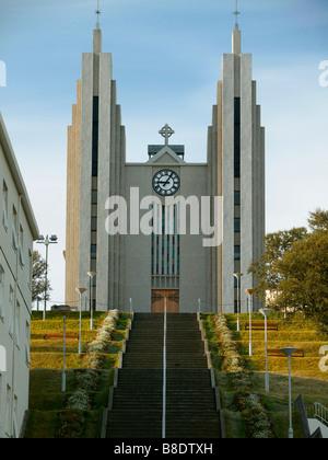 Akureyri Church, Akureyri, Iceland - Stock Photo