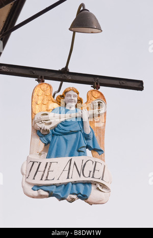 The Angel Hotel pub sign in Lavenham,Suffolk,Uk - Stock Photo