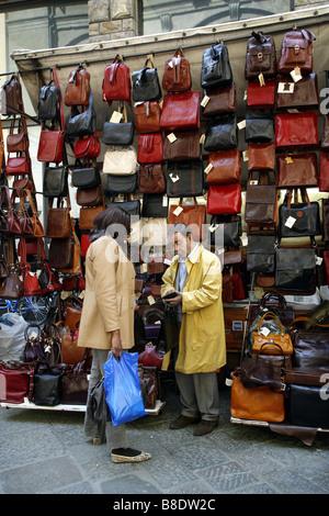 Street Vendor, The New Market, The Loggia del Mercato Nuovo, Florence, Tuscany, Italy - Stock Photo