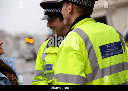 Brighton and Hove community support officers chat to a member of the public whilst out on the beat