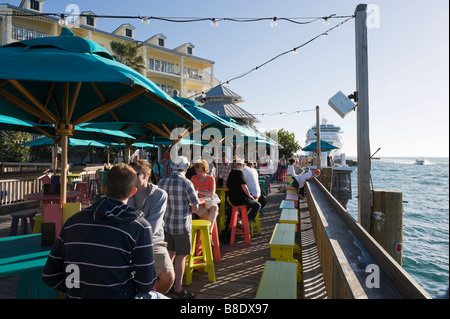 Sunset Pier bar and restaurant in the late afternoon, Ocean Key Resort, Old Town, Key West, Florida Keys, USA - Stock Photo