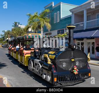 Conch Tour Train on Duval Street, Old Town, Key West, Florida Keys, USA - Stock Photo